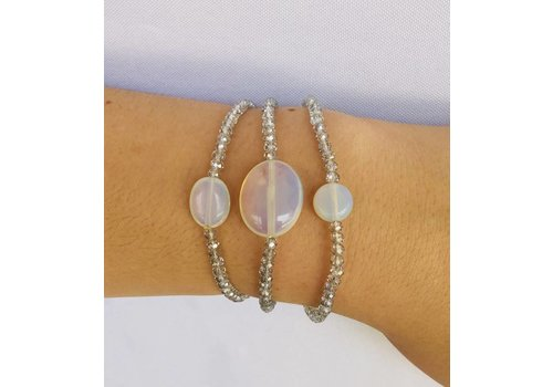 blueish clear beaded bracelet set of 3