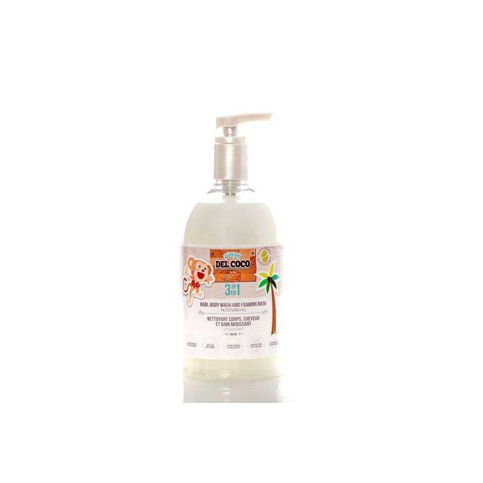 Savon 3 en 1, shampoing, corps et bain moussant (coconut) 500 ml