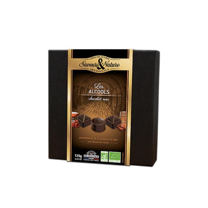 Assortiment chocolats noirs aux alcools 125g