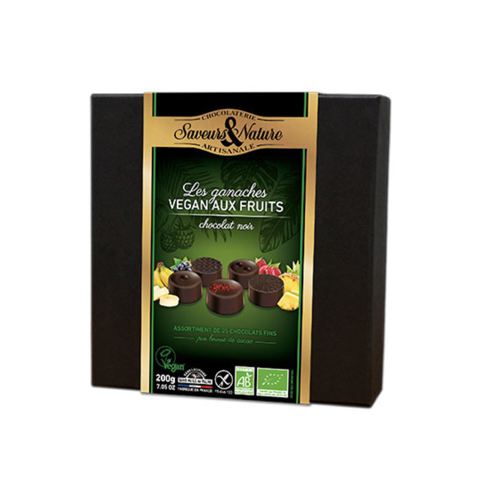 Assortiment chocolats noirs aux fruits vegan 200g