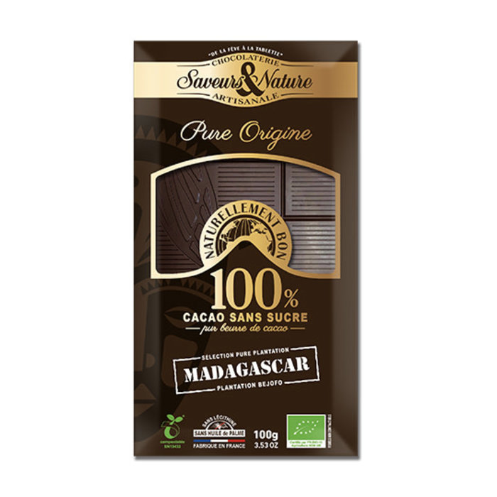 Barre chocolat bio noir 100g 100% cacao pur sans sucre Madagascar