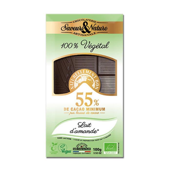 Barre chocolat bio noir 100g 55% lait amande sans lactose vegan