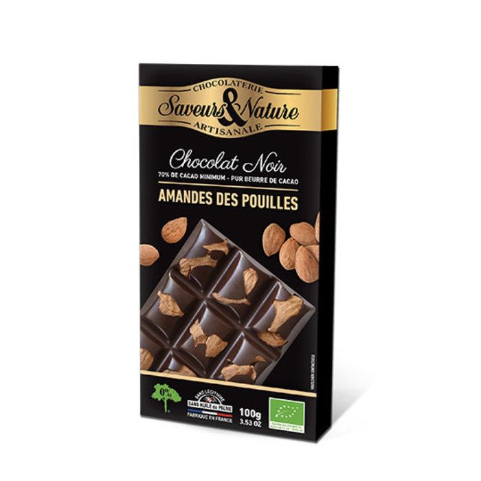 Barre chocolat bio noir 100g 70% cacao Amandes entières