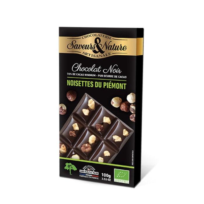 Barre chocolat bio noir 100g 70% cacao Noisettes entières