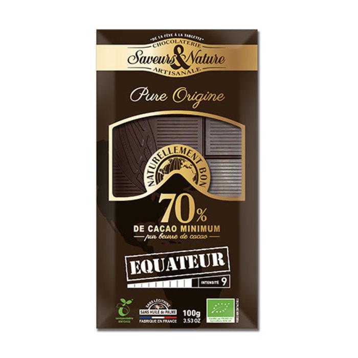 Barre chocolat bio noir 100g 70% cacao pur Equateur