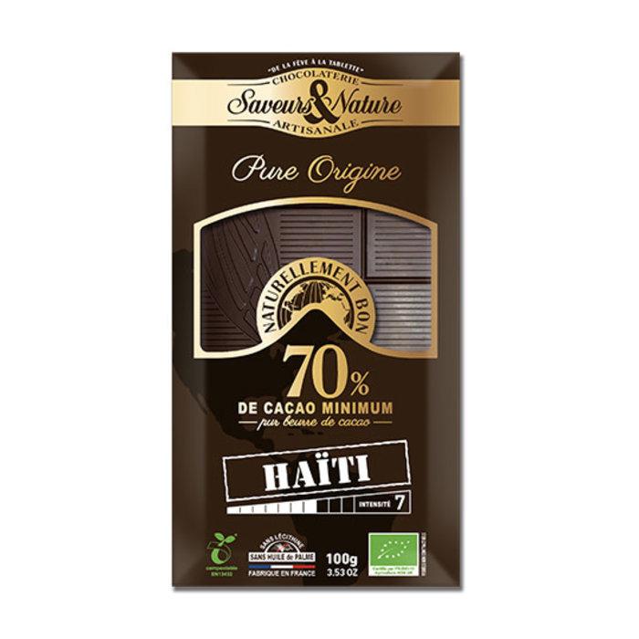Barre chocolat bio noir 100g 70% cacao pur Haiti