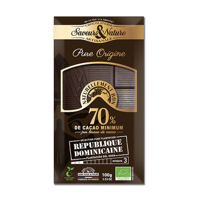 Barre chocolat bio noir 100g 70% cacao pur Rép.Dominicaine