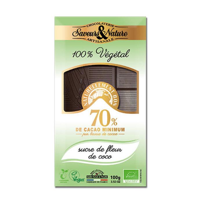 Barre chocolat bio noir 100g 70% sucre fleur de coco vegan