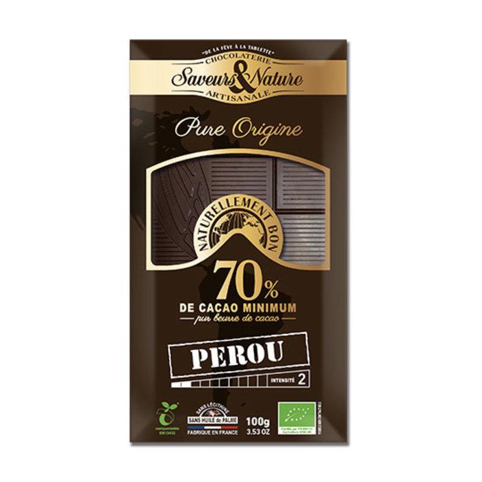 Barre chocolat bio noir 100g 70%cacao pur Pérou
