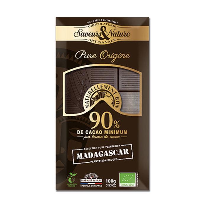 Barre chocolat bio noir 100g 90% cacao pur Madagascar