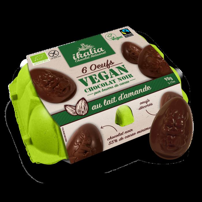 Boite à oeuf vegan - 6 oeufs chocolat au lait d'amande - 6 x15g