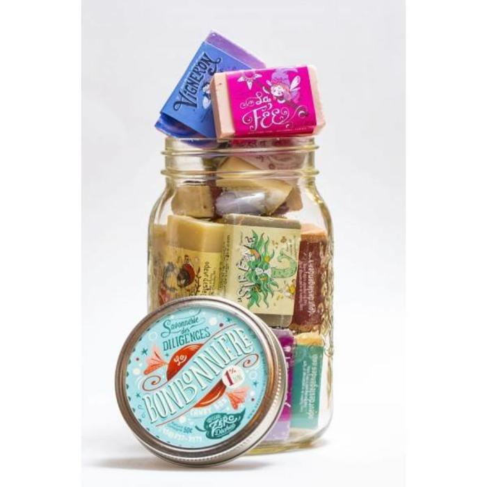 Bonbonniere mini-savons dans Pot Masson 500g