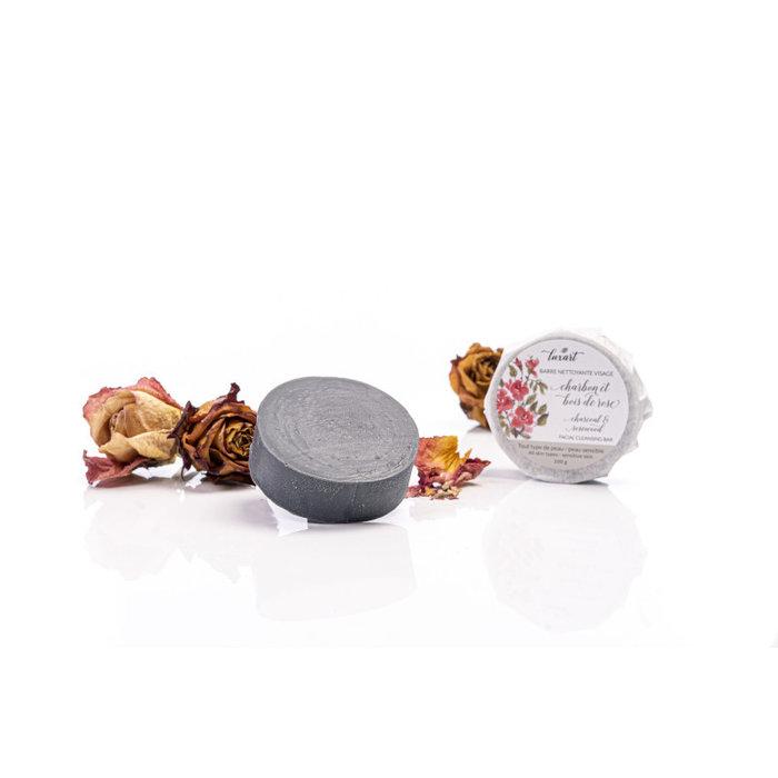 Barre de savon charbon et bois de rose 100g