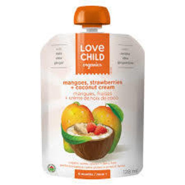 Purée bio pour bébé, 128ml Mangue,fraise et crème noix coco