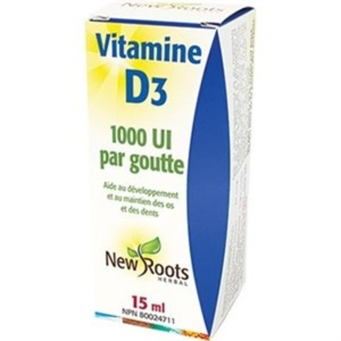 Vitamine D3, 1000ui par goutte, 15 ml