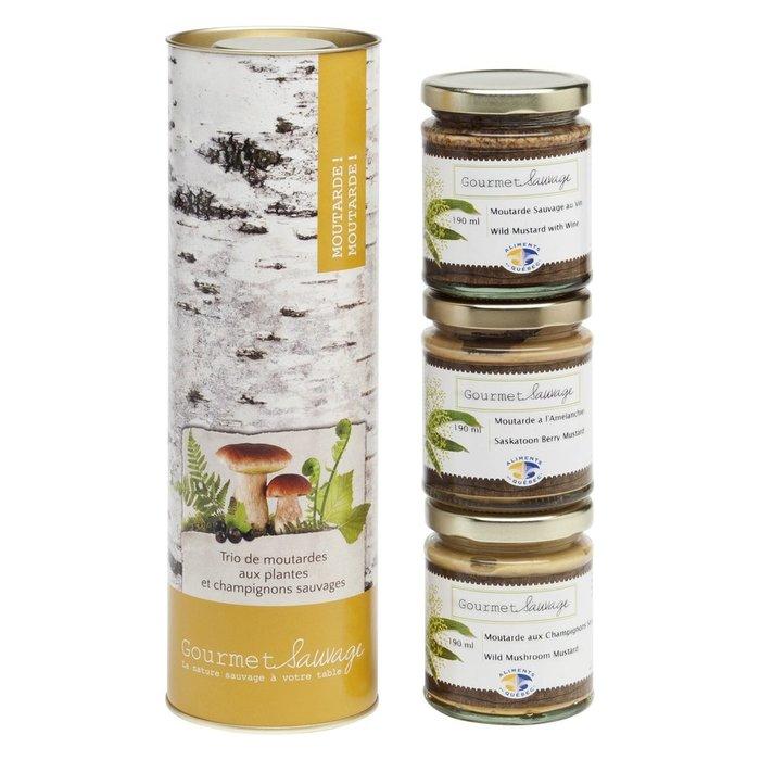 Trio Moutarde! 3 x 190ml (moutardes aux plantes et champignons sauvages)