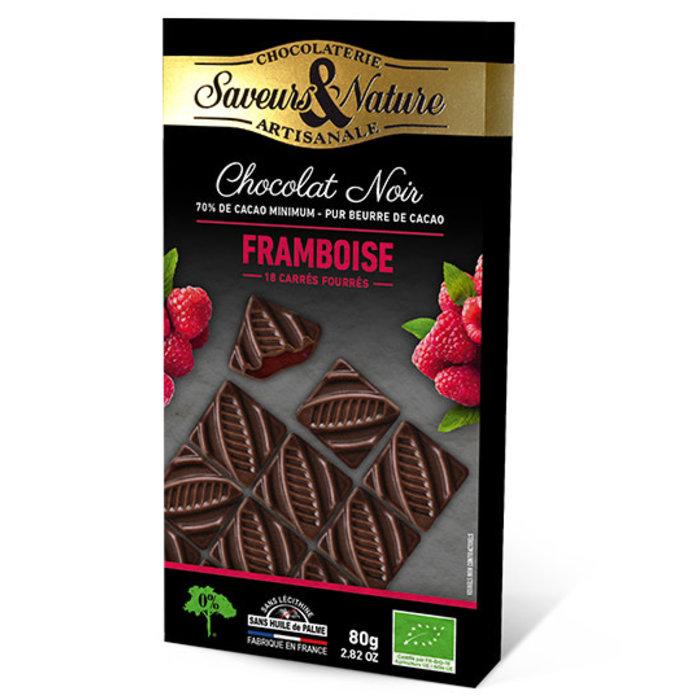 Carré fourré framboise & chocolat noir 80g