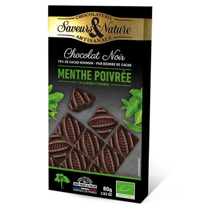 Barre chocolat bio noir 80g 70% cacao pur coeur menthe poivree