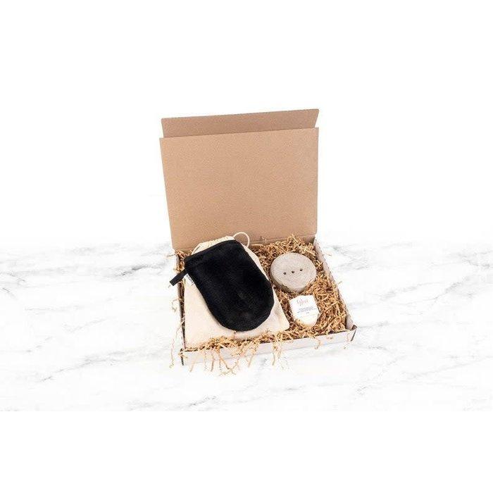 Coffret Glove, nettoyant 50g et porte-savon beton gant micro-fibre