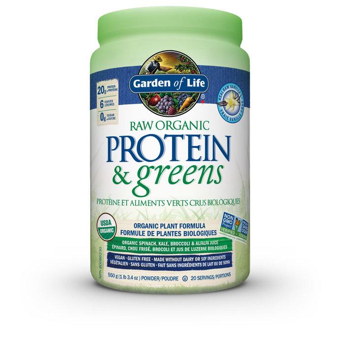 Protéines et aliments verts crus biologique