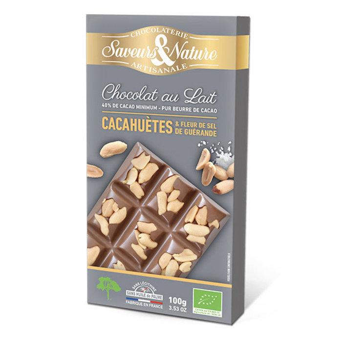 Barre chocolat 40% cacao, fleur de sel et arachides