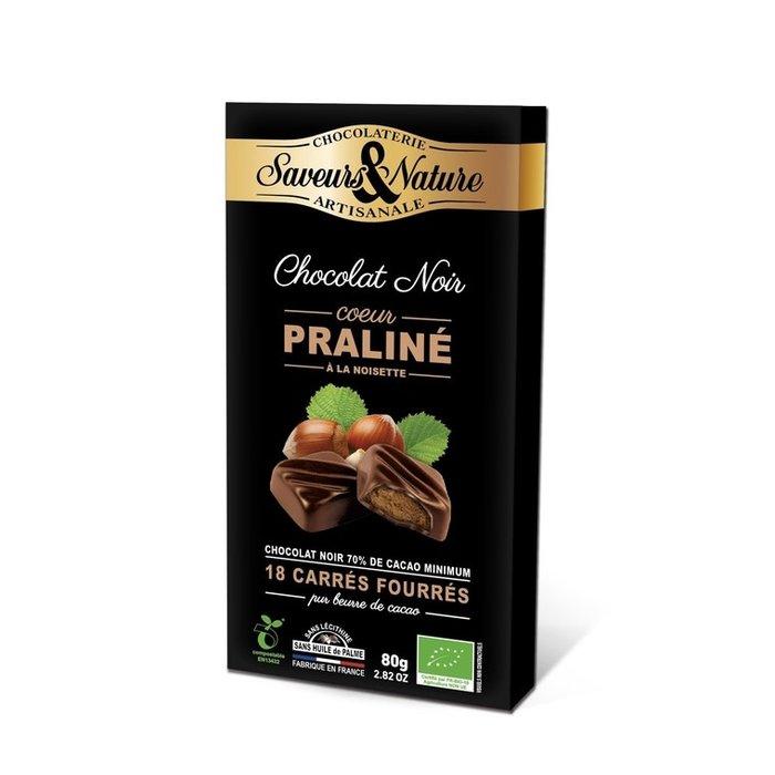 Carre fourre praline enrobe de chocolat noir 80g