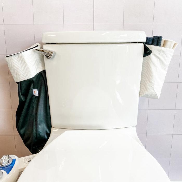 Ens.depart;36rouleaux toilette lavables noirs, panier et sac impermeable