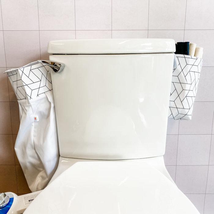 Ens.depart; 36 rouleaux toilette lavables blancs, panier et sac impermeable