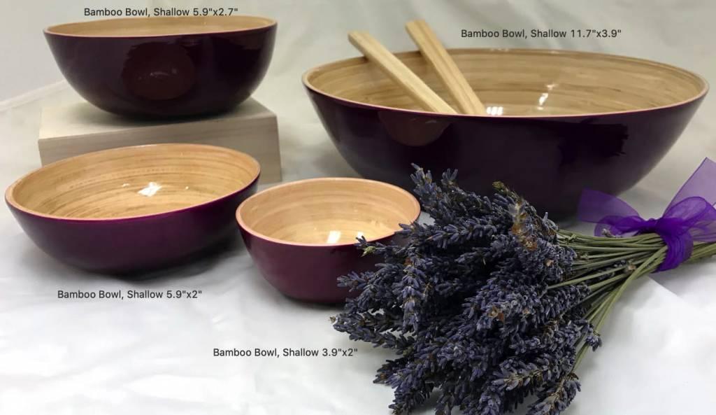 "Bamboo Bowl, Shallow 5.9""x2""-3"