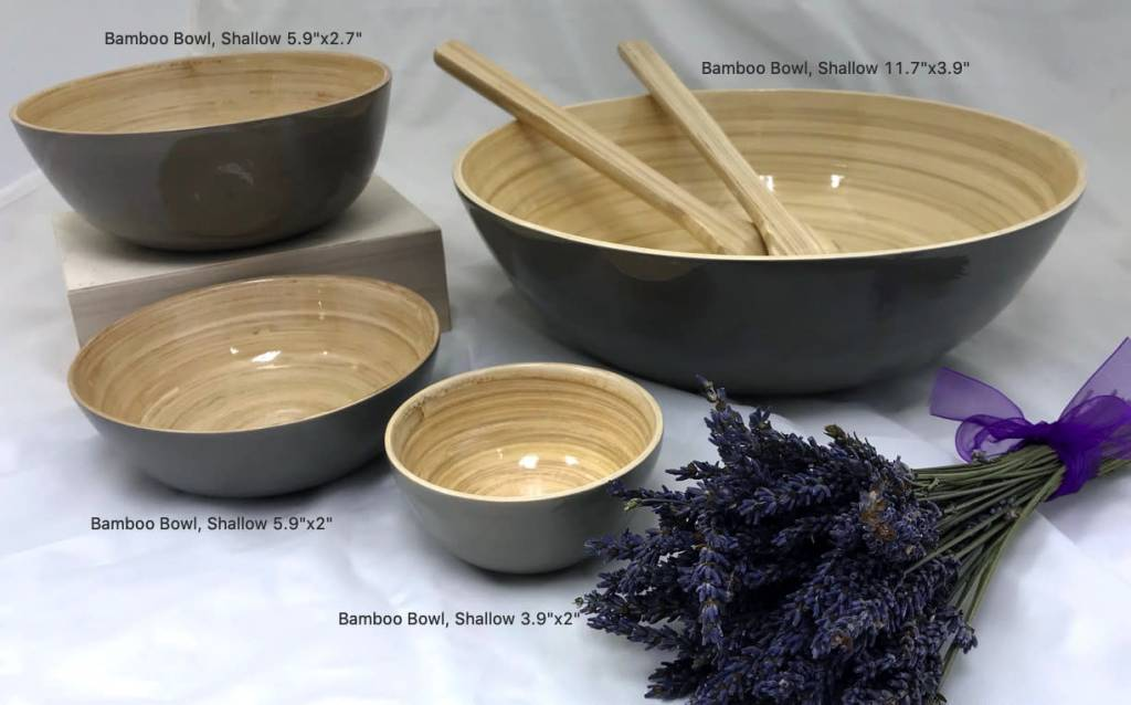 "Bamboo Bowl, Shallow 5.9""x2""-4"
