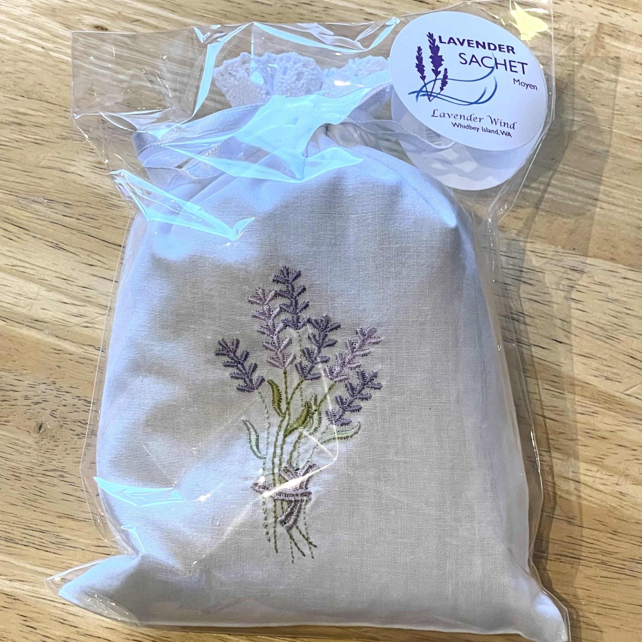 Sachet, Lav Embroidered, Moyen (reg & heart)-1