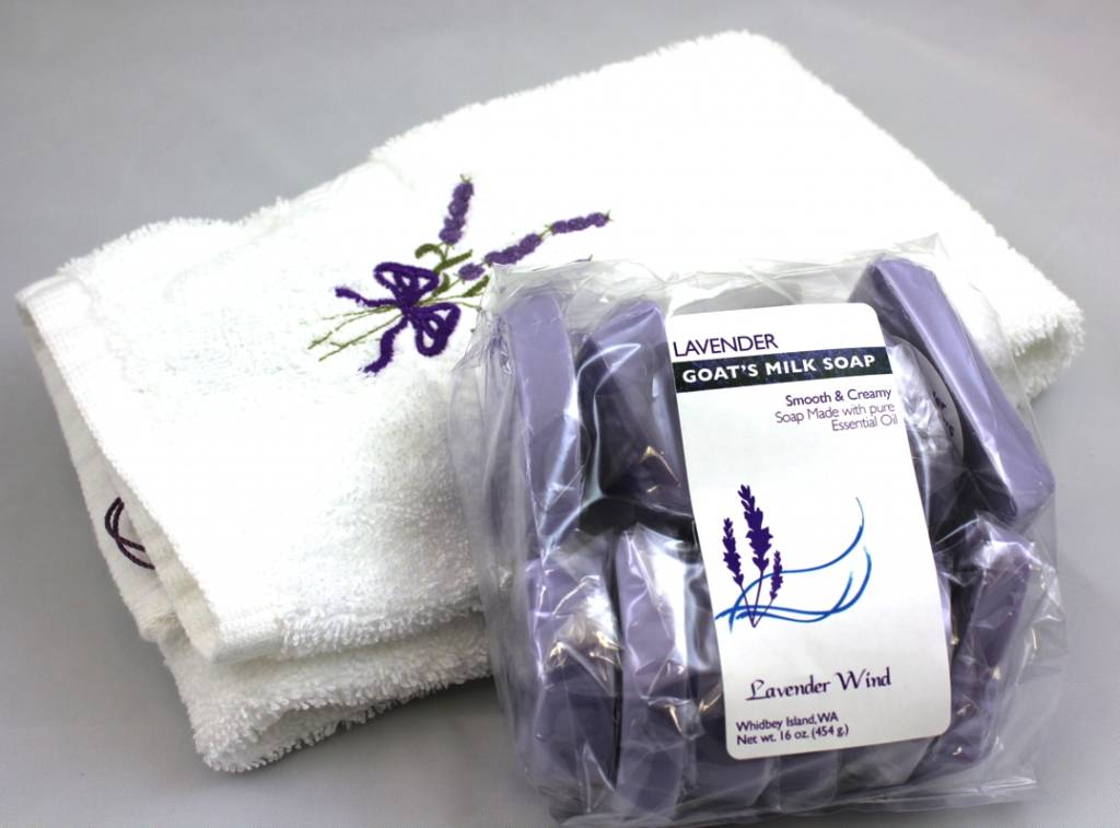 Joyce Stroeher Lavender Embroidered Hand Towel