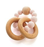 Loulou Lollipop Silicone Wood Teether - Pink