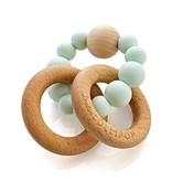 Loulou Lollipop Silicone Wood Teether - Robins Blue