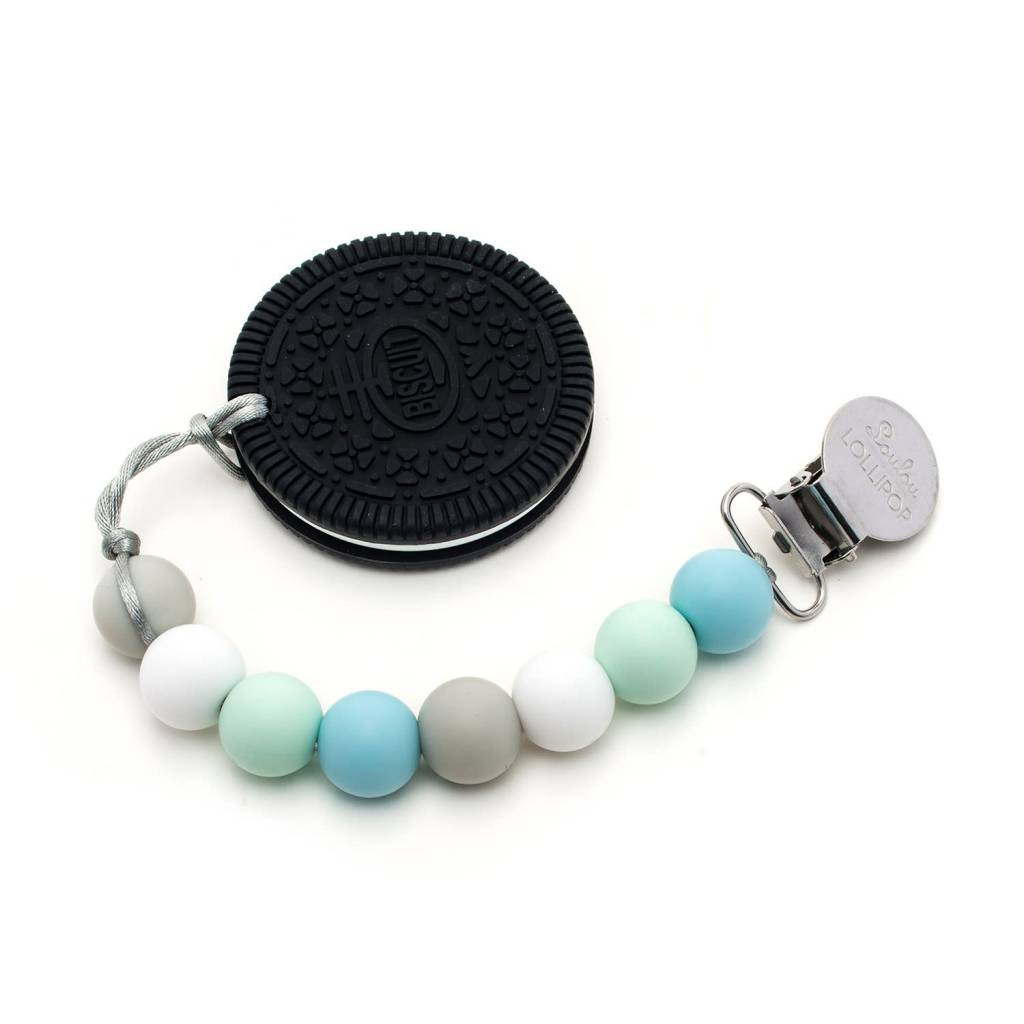 Loulou Lollipop Cookie Teether w/Clip Mint