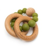 Loulou Lollipop Silicone Wood Teether - Olive