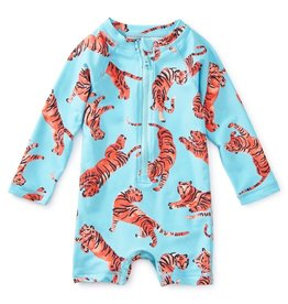 Tea Collection Tossed Tiger Baby Shortie Rash Guard