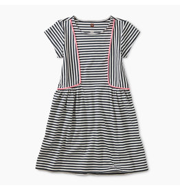 Tea Collection Pom Pom Striped Skirted Dress