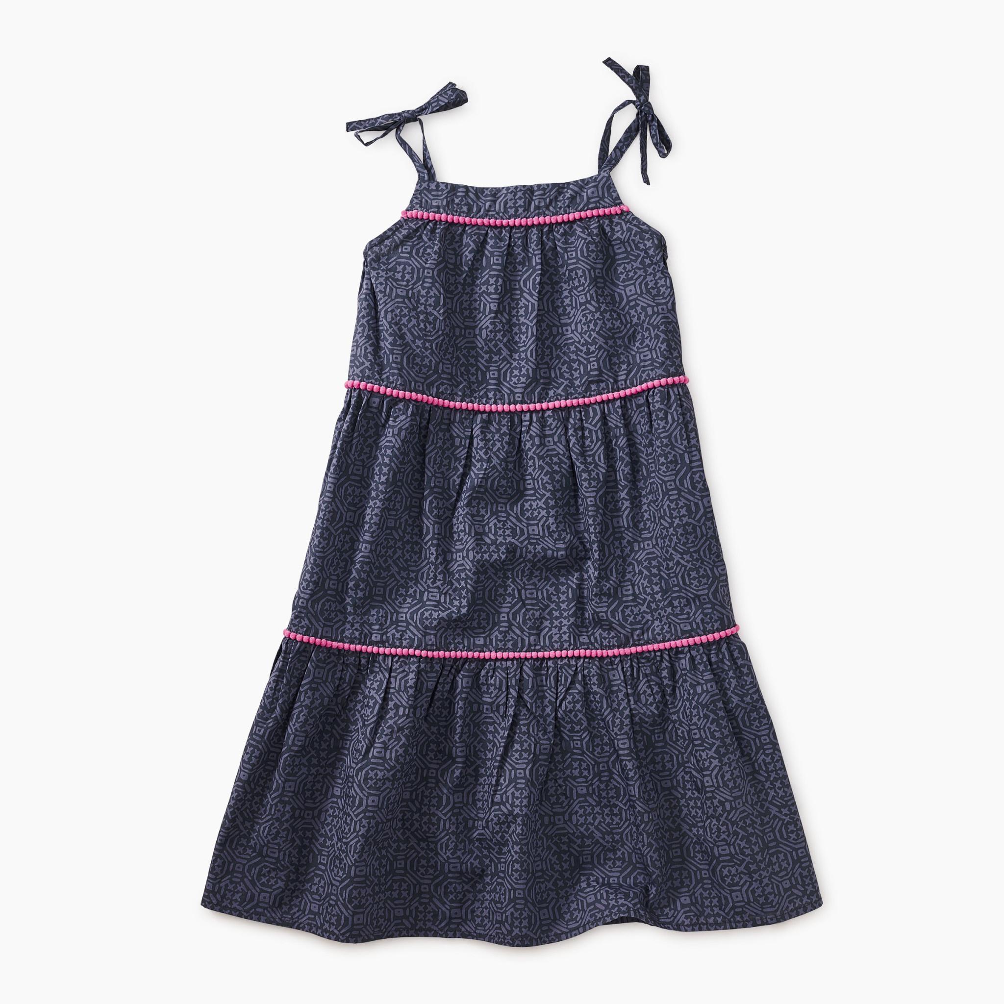 Tea Collection Woodblock Geo Pom Pom Dress
