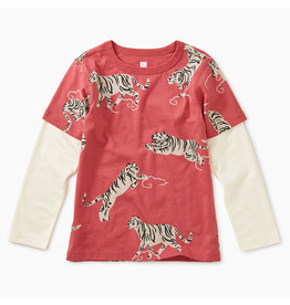 Tea Collection Printed Layered Tee-Tigers & Clouds