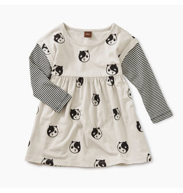 Tea Collection Printed Lyred Sleeve Bby Dress- Ying Yang Panda