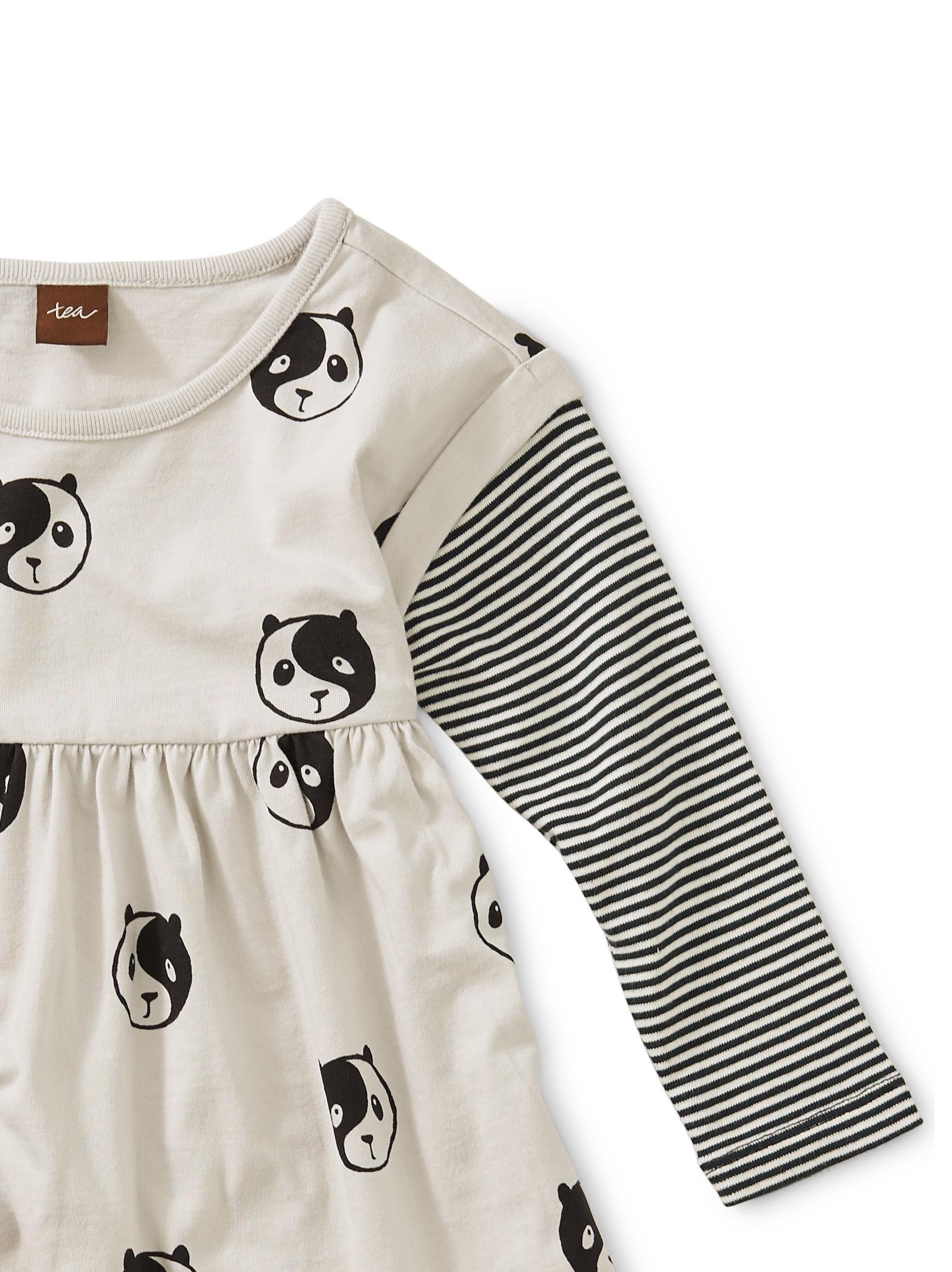 Tea Collection Printed Lyred Sleeve Bby Dress- Ying Yang Panda
