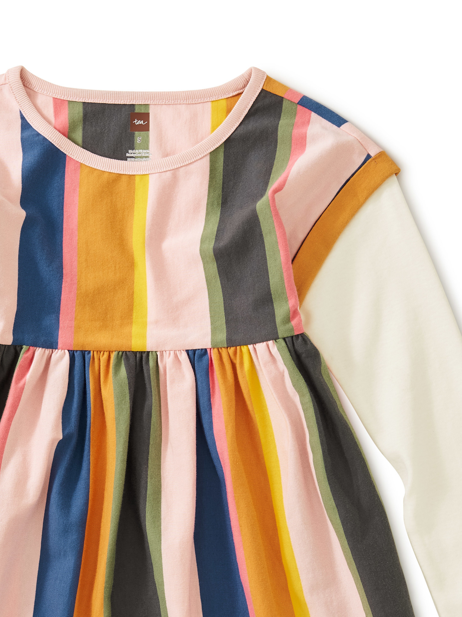 Tea Collection Striped Layered Sleeve Dress - Festival Stripe