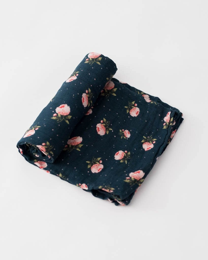 Little Unicorn Swaddle Blanket - Midnight Rose