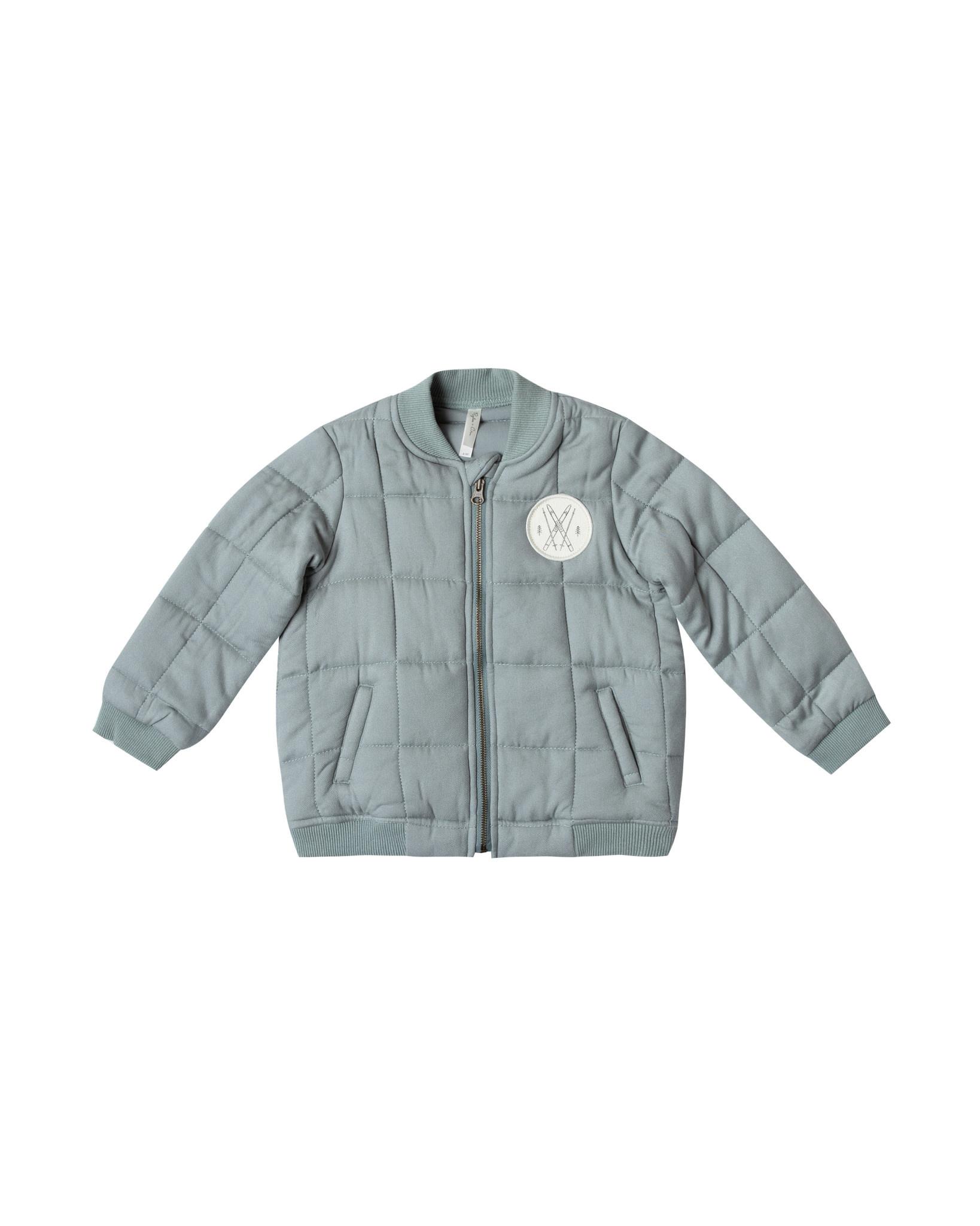 Rylee & Cru Quilted Blue Bomber Jacket Baby