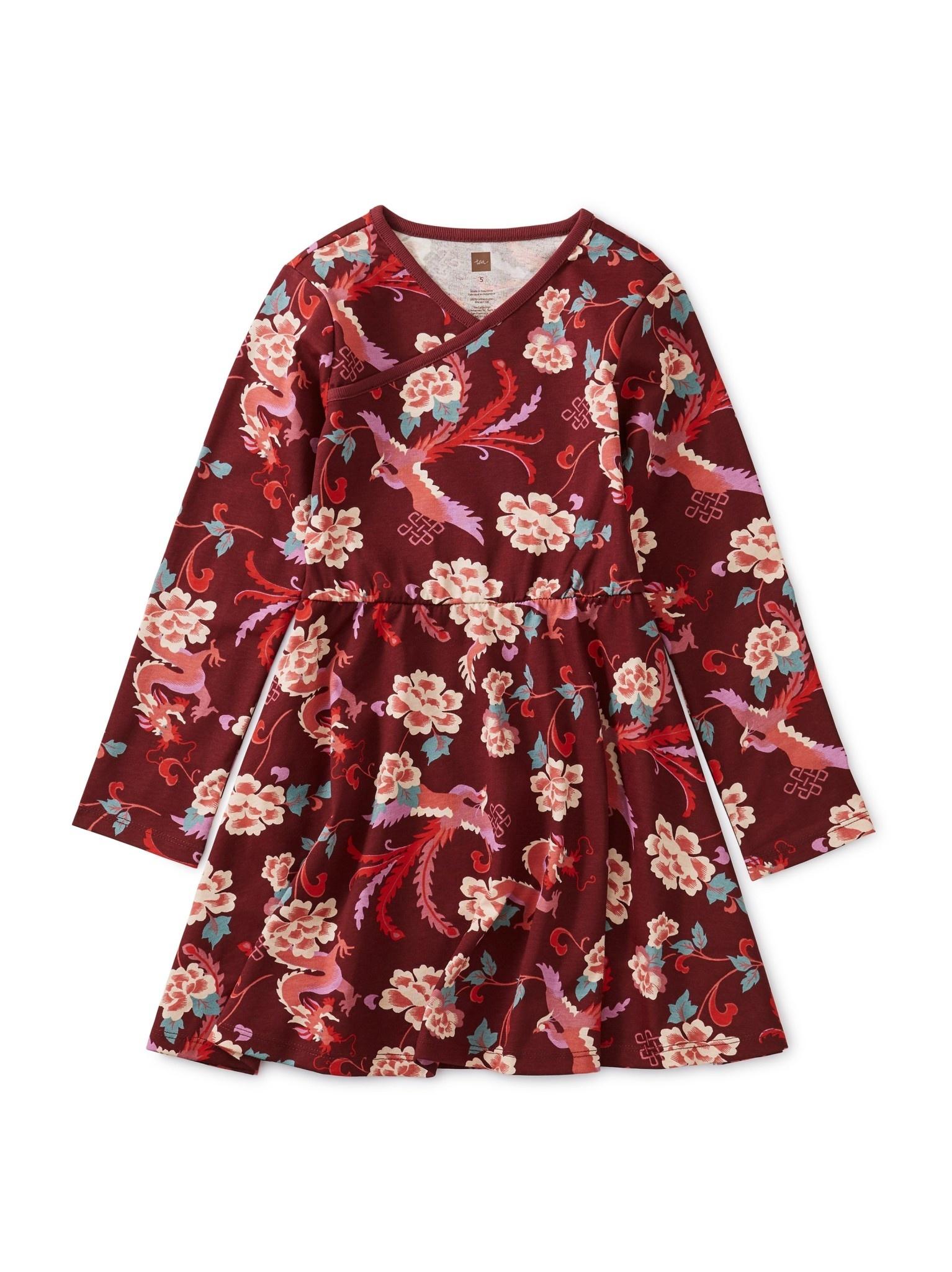 Tea Collection Full Skirt Wrap Neck Dress - Dragon