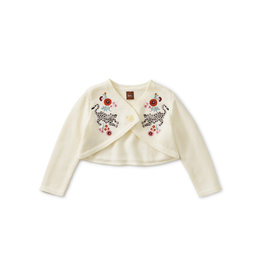 Tea Collection Embroidered Wrap Cardigan - Chalk