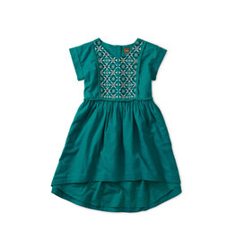 Tea Collection Metallic Embroidered Dress - Tempo Teal