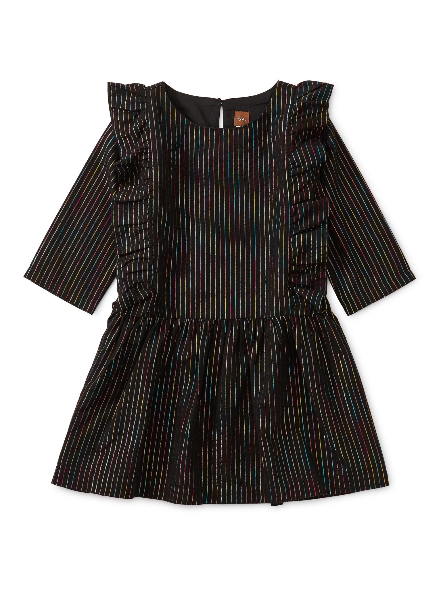 Tea Collection Rainbow Metallic Ruffle Dress