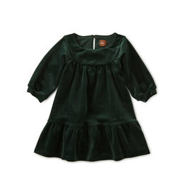 Tea Collection Velour Ruffle Baby Dress - Mallard
